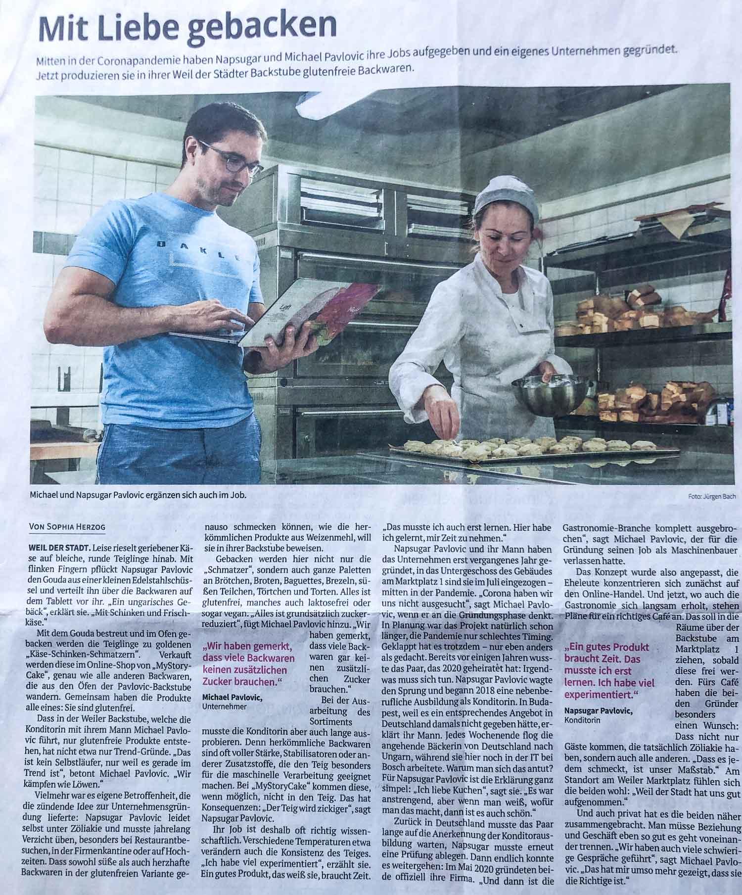 MyStoryCake glutenfreie Baeckerei-in-der-Leonberger-Zeitung